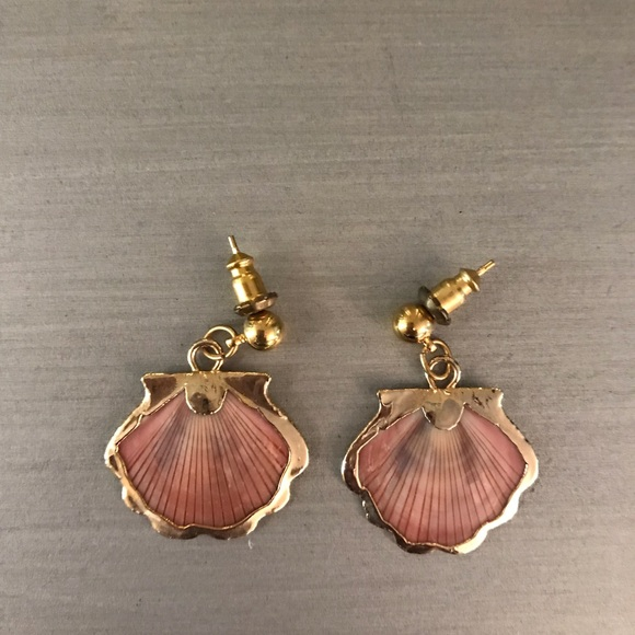 5d6f2ec97 Boutique Jewelry | Gold Pink Dainty Seashell Shell Earrings | Poshmark